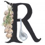 Initiale R mit Zwiebeln Kräutern und Suppenkelle
