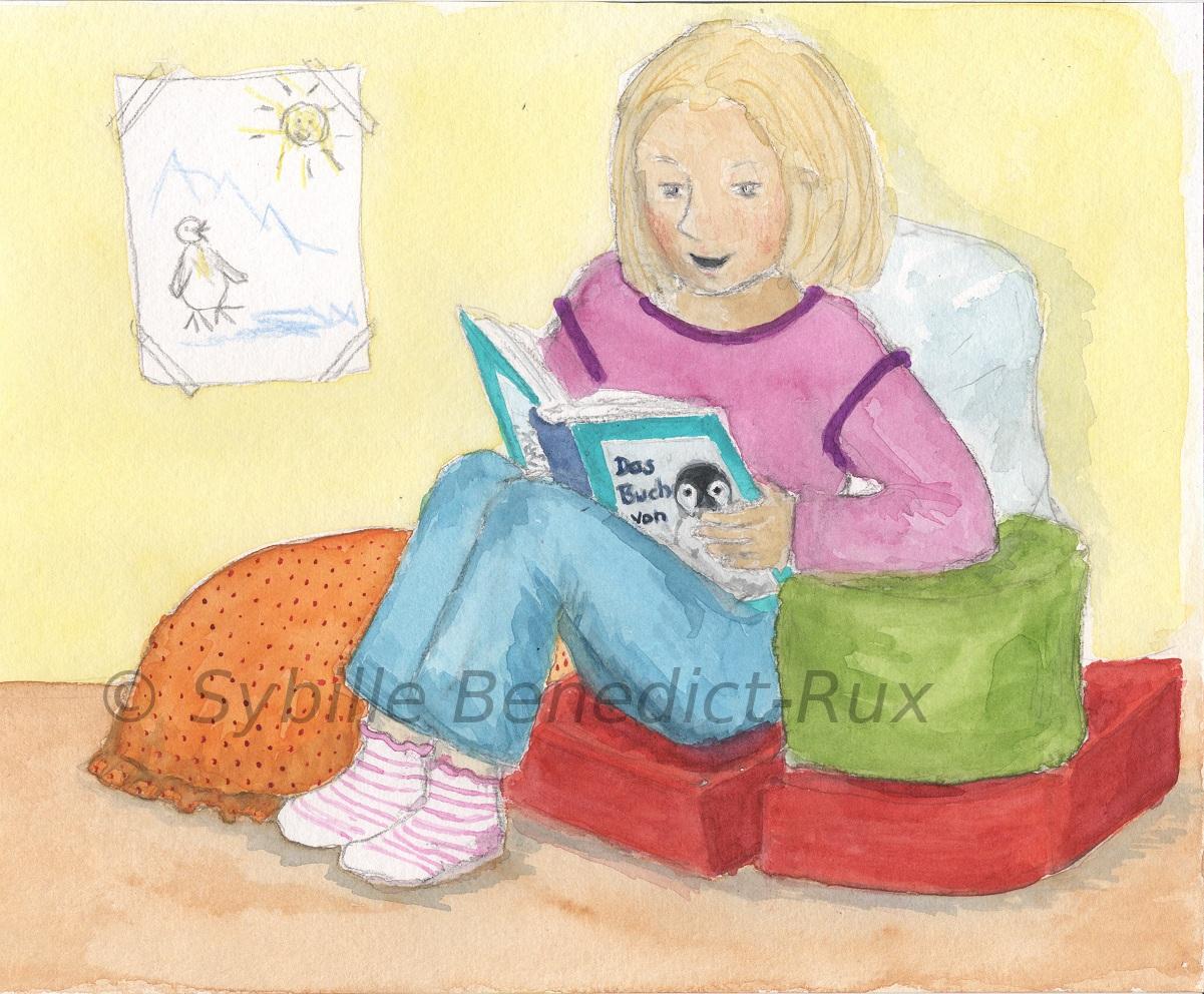 Kinderbuchillustration: Kind Liest Ein Buch