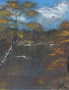 Ölbild Herbst am Teich