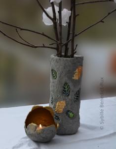 Vase und Windlicht aus Knetbeton