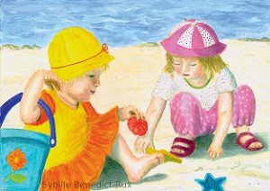 Kinderillustration Kinderparadies am Strand