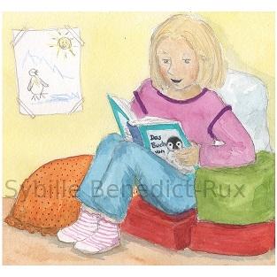 Lotte liest ein Buch über Pinguine