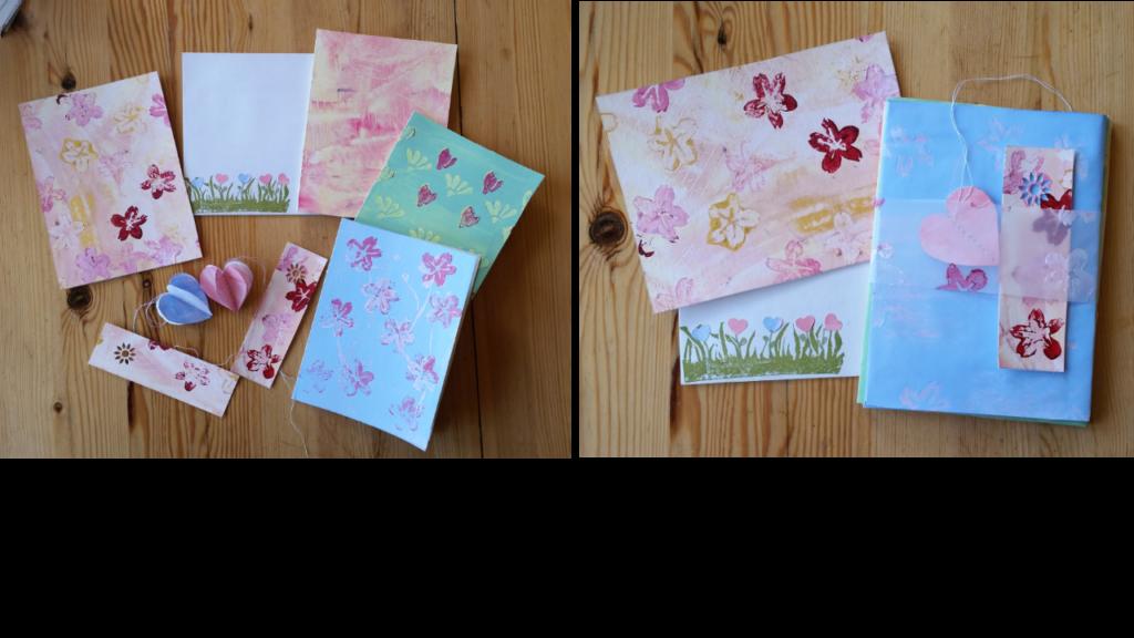 Verarbeitete Kleisterpapiere: Briefumschläge, Karten und Beigaben zur Frühlingspost 2019